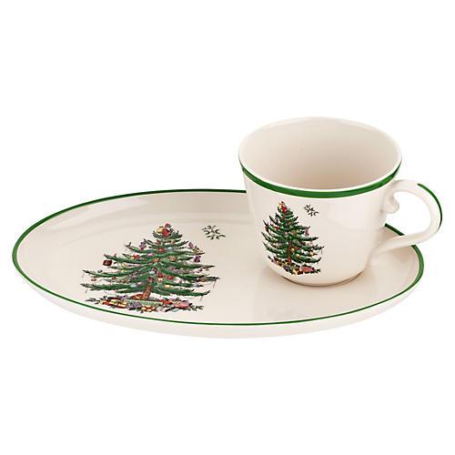 Spode Christmas Tree Soup & Sandwich Set