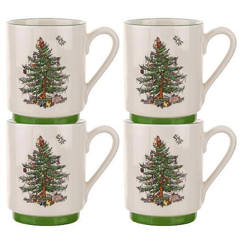 S/4 Stacking Mugs, Christmas Tree