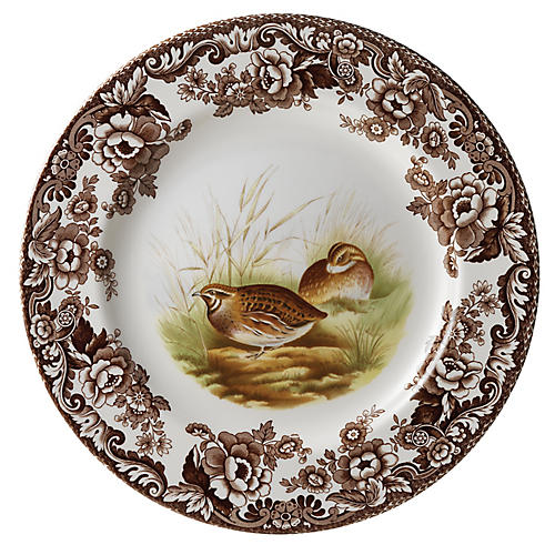 Woodland Quail Salad Plate, White/Multi