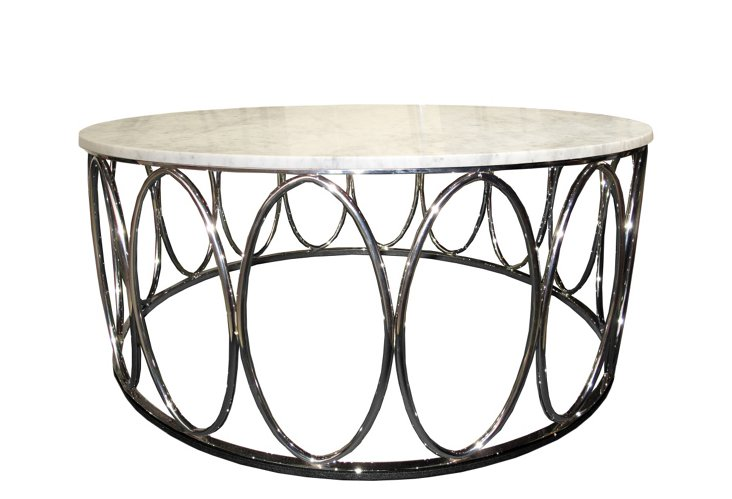 Ovales Cocktail Table, Metal/White