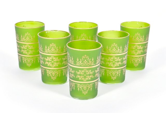 S/6 Tunis Moroccan Glasses, Yellow