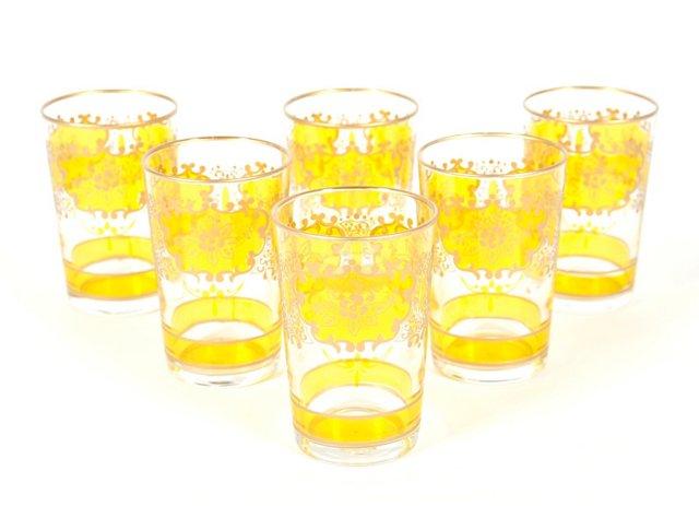 S/6 Challa Moroccan Glasses, Orange