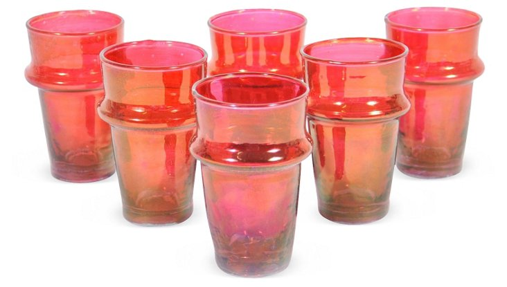 S/6 Beldi Moroccan Glasses, Orange