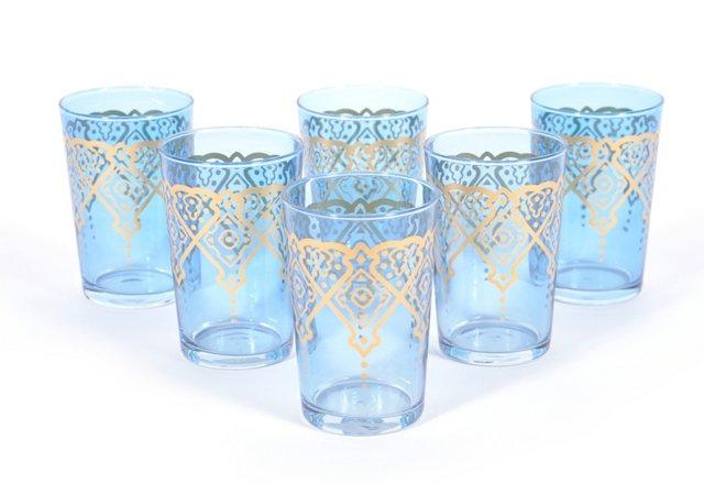 S/6 Lozagne Moroccan Glasses, Orange
