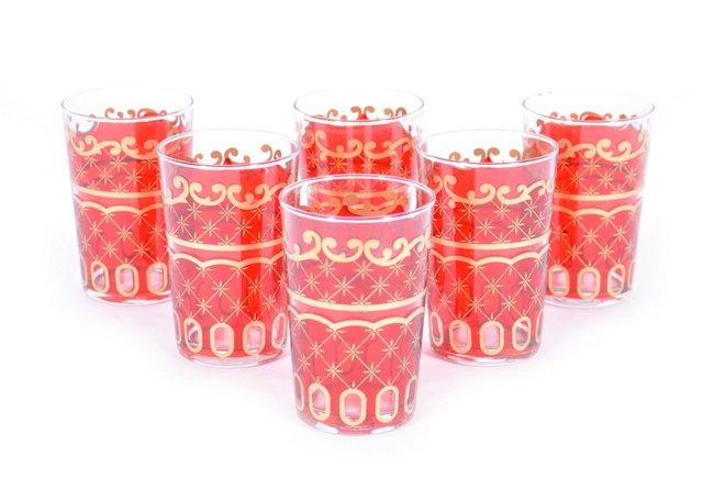 S/6 Etoile Moroccan Glasses, Blue
