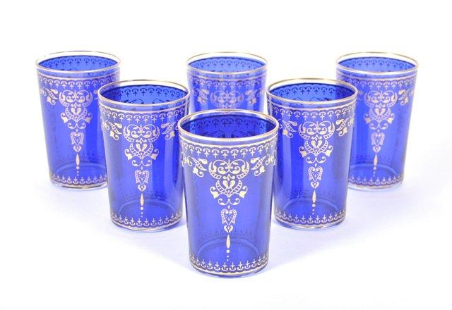 S/6 Marjana Moroccan Glasses, Orange