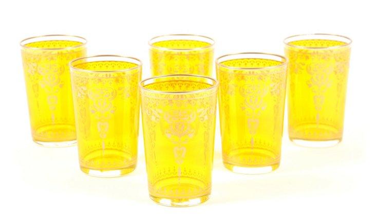 S/6 Marjana Moroccan Glasses, Red