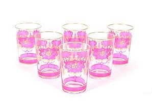 S/6 Challa Moroccan Glasses, Pink