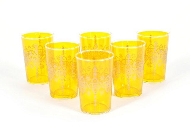 S/6 Henna B Moroccan Glasses, Orange