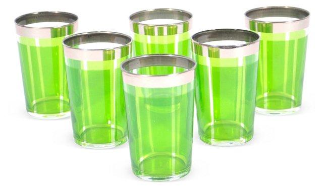 S/6 Platine Moroccan Glasses, Aqua