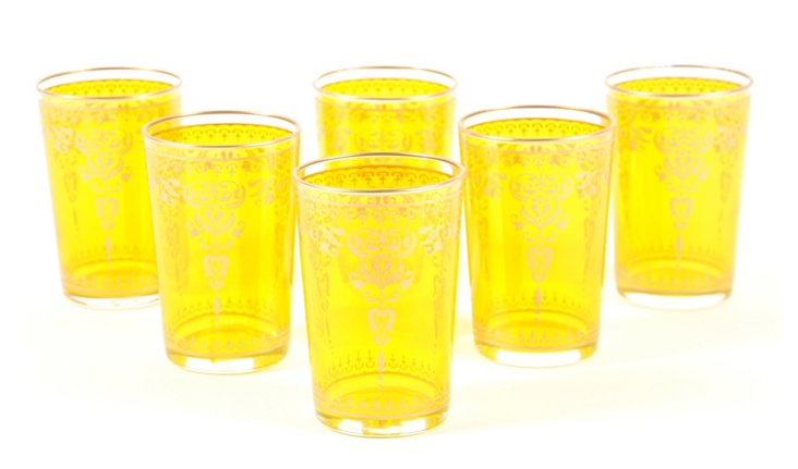 S/6 Henna B Moroccan Glasses, Red/Yellow