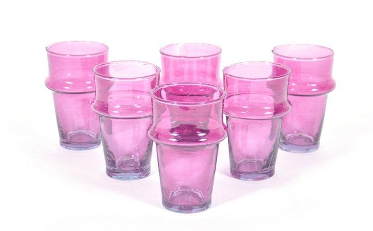 S/6 Platine Moroccan Glasses, Yellow