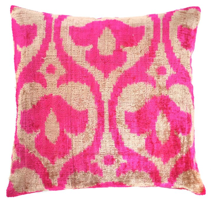Crest 15x15 Silk Velvet Pillow, Pink