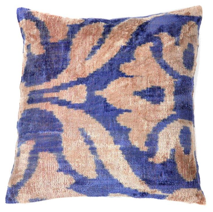 Flower 15x15 Silk Velvet Pillow, Blue