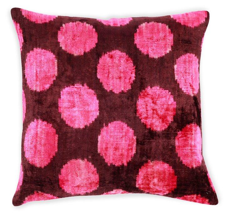 Dot 15x15 Silk Velvet Pillow, Pink