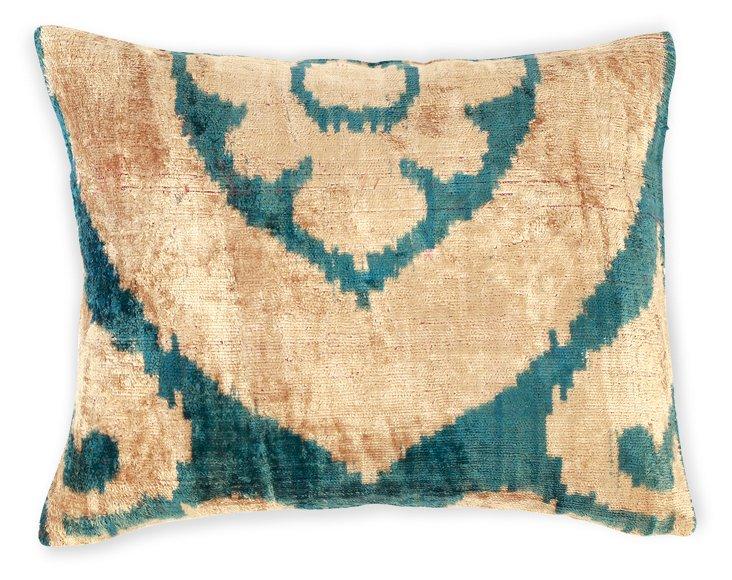 Flower 15x12 Silk Velvet Pillow, Turq