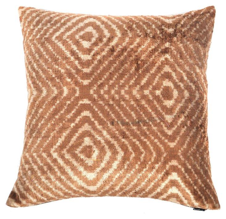 Bruna 15x15 Silk Velvet Pillow, Brown