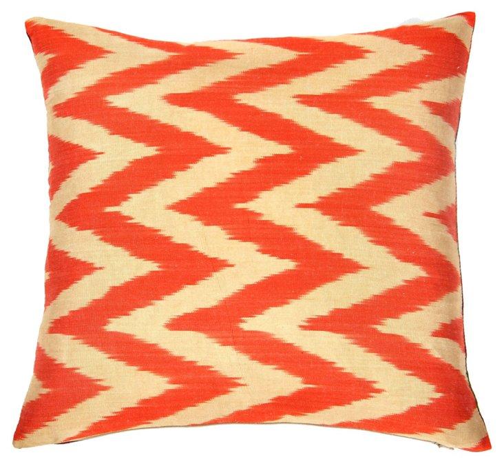 Chevron 15x15 Silk Pillow, Orange