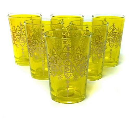 S/6 Souad Moroccan Glasses, Yellow