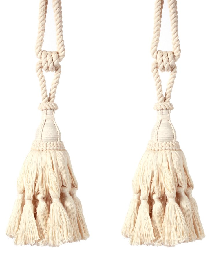 S/2 Dionyus Cotton Tassels, Natural