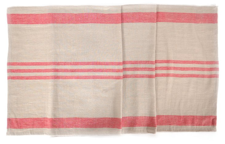 Brive Table Runner, Red Stripe