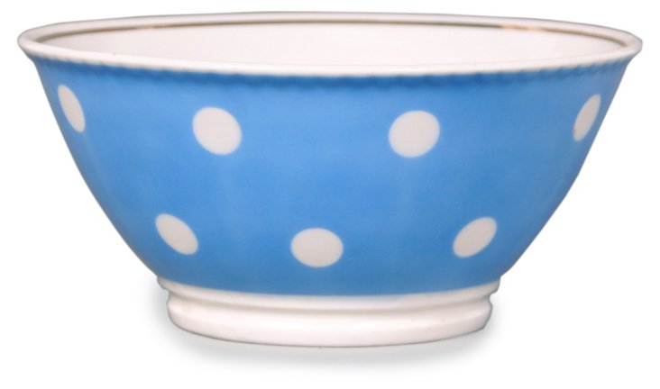 Polka Dot Bowl, Light Blue