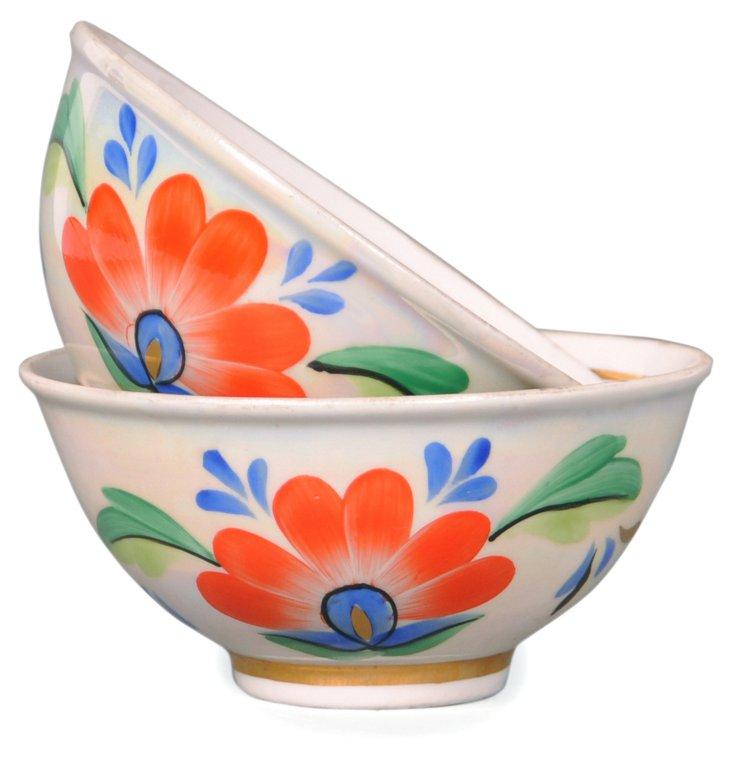 S/2 Floral Porcelain Bowls