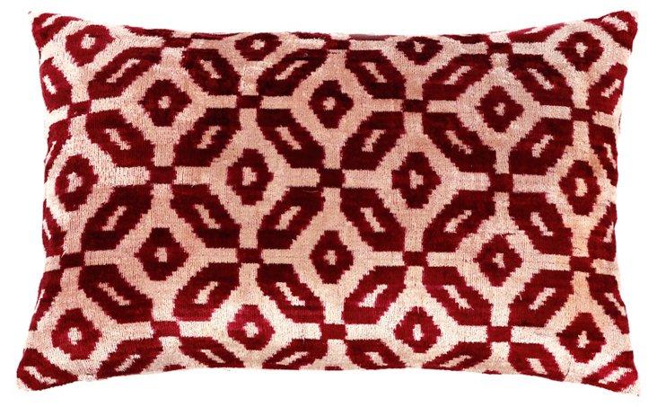 Orca 15x23 Velvet Pillow, Red