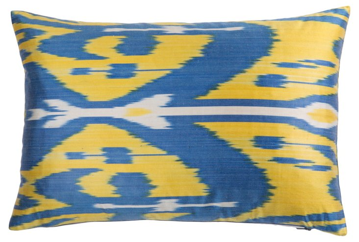 Birda 13x19 Silk Pillow, Yellow/Blue