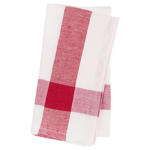 S/4 Corner Crossover Linen Napkins, Red