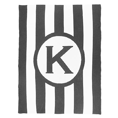 Caskata Monogram Stripe Cotton Throw, Gray