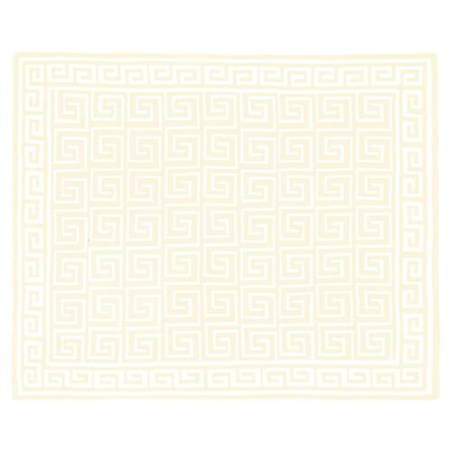 Custom Greek Key Cotton Throw, Cream