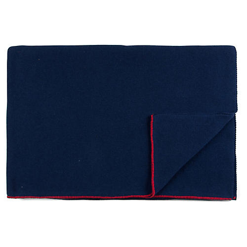 Custom Cotton Throw, Navy/Red