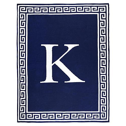 Greek Key Monogram Cotton Throw, Navy