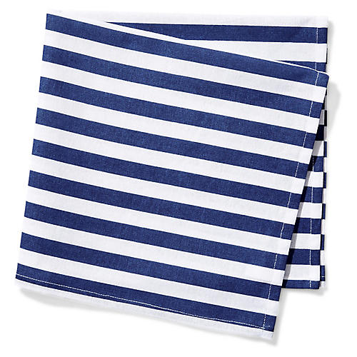 S/4 Beach Towel Stripe Dinner Napkins, Blue/White
