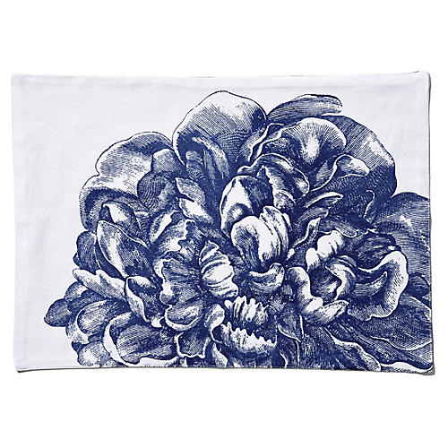 S/4 Peony Place Mats, Blue/White