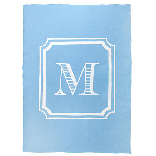 Custom Knit Monogram Cotton Throw, Light Blue