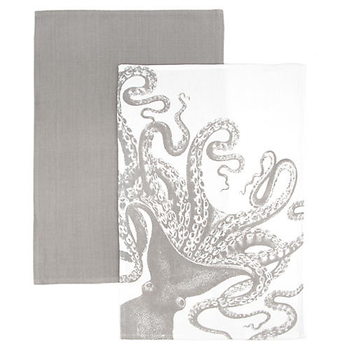 S/2 Octopus Kitchen Towels, Gray/White