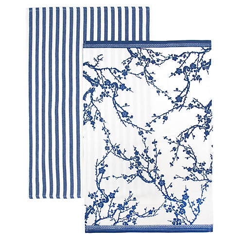 S/2 Quince Stripe Kitchen Towels, Blue/White