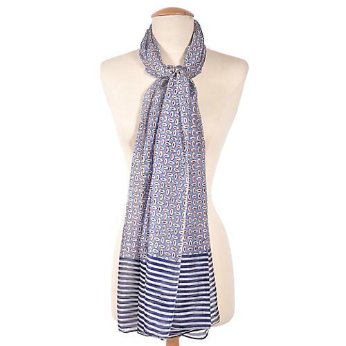 Striped Silk Scarf, Blue