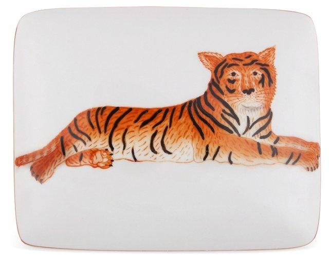 "6"" Porcelain Tiger Box, White"