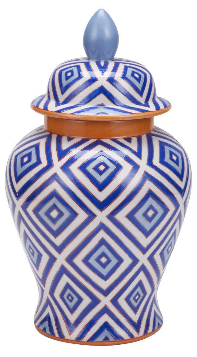 "16"" Diamond Porcelain Ginger Jar, Blue"