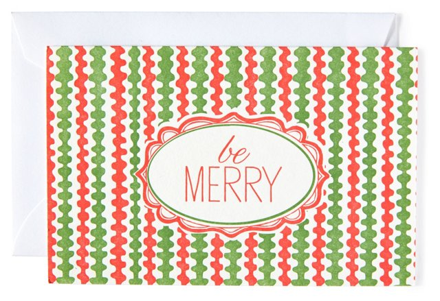 """S/12 Holiday Cards, """"Be Merry"""""""