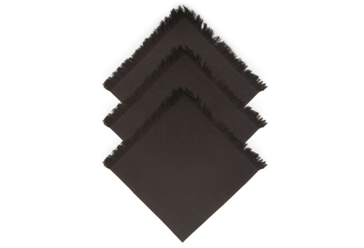 Set of 4 Fringe Napkins, Black