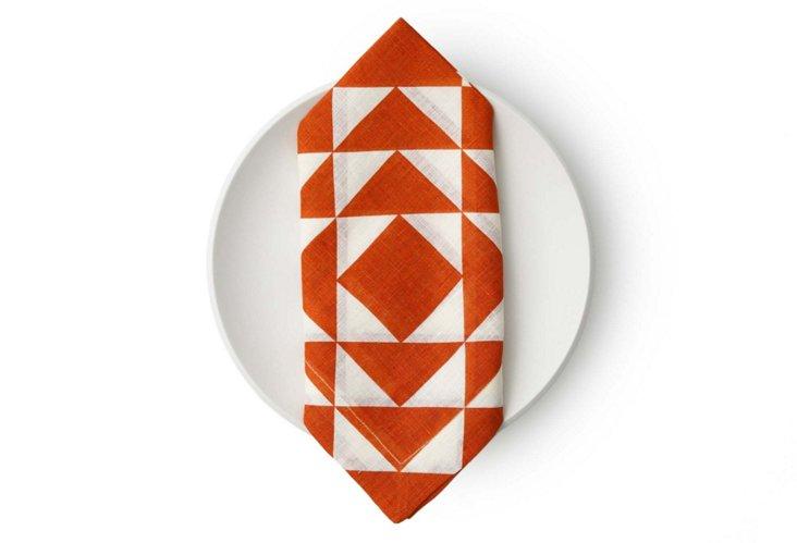 S/4 Geo Napkins, Orange
