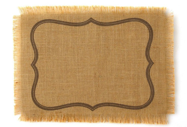 S/4 Gray Frame Place Mats, Brown