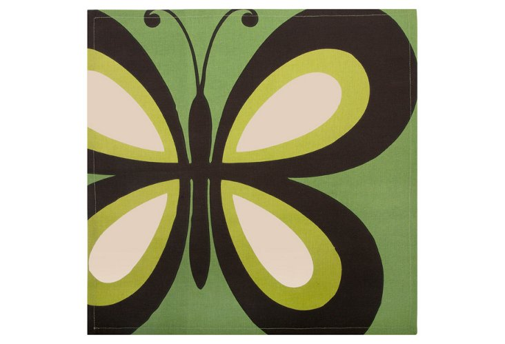 S/4 Butterfly Napkins, Green