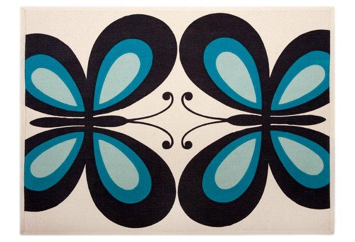 Set of 4 Butterfly Place Mats, Blue