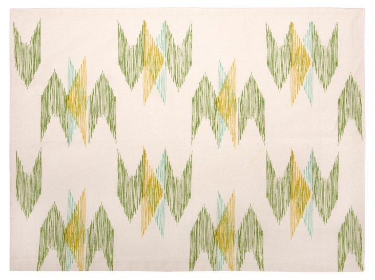 Set of 4 Ikat Place Mats, Green