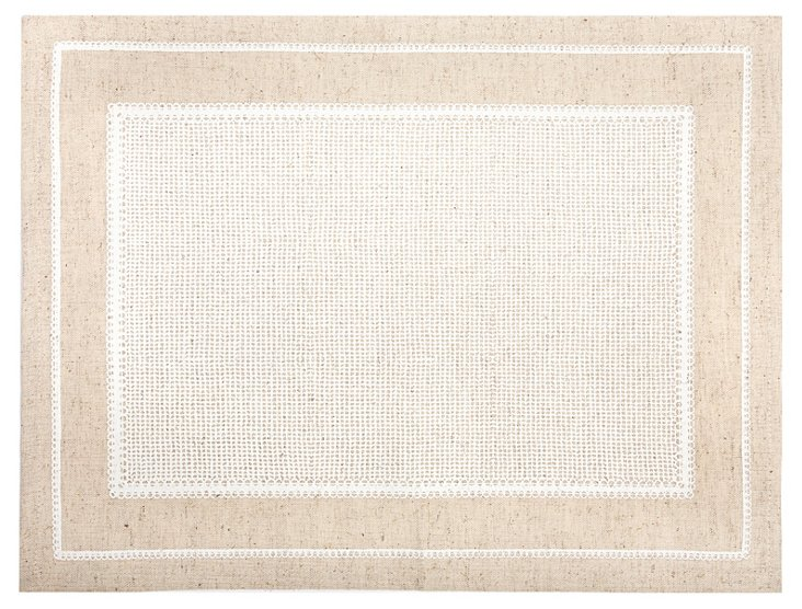 S/4 Printed Lace Place Mats, White